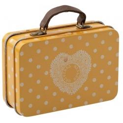 METALOWA WALIZECZKA podróżna żółta w grochy pudełko