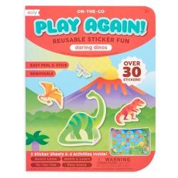 DINOZAURY naklejki wielorazowe z mini grą Play again