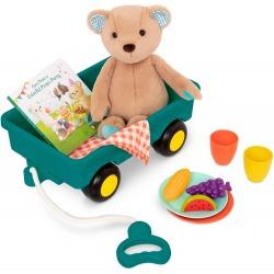 WAGONIK z misiem, książką i zestawem piknikowym HappyHues Cara Mellow Bear Playset