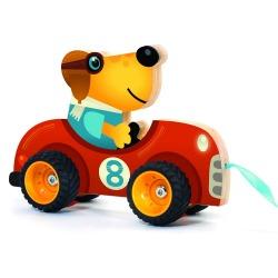 DREWNIANY PIESEK zabawka do ciągnięcia Terreno car