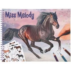 KONIKI szkicownik z naklejkami Miss Melody