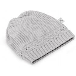 LIGHT GREY czapeczka z bawełny organicznej 0-3 m