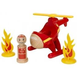 CZERWONY HELIKOPTER straży pożarnej z figurką My Home Town