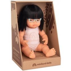 AZJATKA lalka dziewczynka z okularami 38 cm