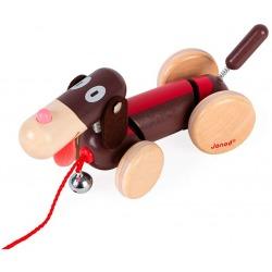PIESEK drewniana zabawka do ciągnięcia z dzwoneczkiem