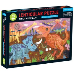 DINOZUARY tekturowe puzzle soczewkowe z ruchomym obrazkiem 3D 75 el.